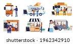 street food cart. small family... | Shutterstock .eps vector #1962342910