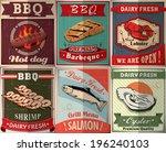 vintage bbq poster design set | Shutterstock .eps vector #196240103