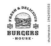 logo badge of burger in vintage ...   Shutterstock .eps vector #1962455353
