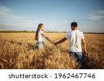 Happy Couple In Love Walk Along ...