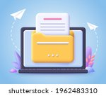 file transfer concept. yellow...   Shutterstock .eps vector #1962483310