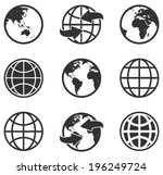 vector black globe icons set  | Shutterstock .eps vector #196249724