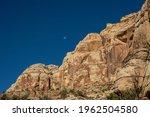 Moon Over Sandstone Rockface In ...