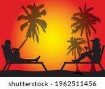 women relaxing on deck chair .   Shutterstock .eps vector #1962511456