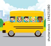 happy kids and driver riding... | Shutterstock . vector #196251380