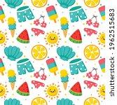 seamless pattern summer. travel ... | Shutterstock .eps vector #1962515683