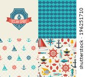seamless patterns of marine... | Shutterstock .eps vector #196251710