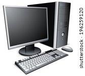 desktop computer with lcd... | Shutterstock .eps vector #196259120