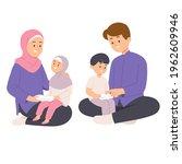 muslim family  mother wearing... | Shutterstock .eps vector #1962609946