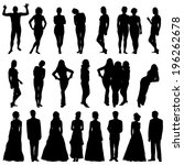 black silhouettes of beautiful... | Shutterstock . vector #196262678