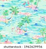 flamingo island seamless... | Shutterstock .eps vector #1962629956