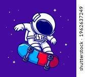 astronaut playing skateboard in ... | Shutterstock .eps vector #1962637249