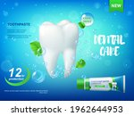 cool mint toothpaste and tooth... | Shutterstock .eps vector #1962644953