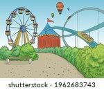 amusement park landscape...   Shutterstock .eps vector #1962683743