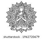 yoga girl mandala. ornamental...   Shutterstock .eps vector #1962720679