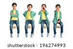 set of cute kids over white... | Shutterstock . vector #196274993