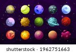 alien planets and stars  vector ...