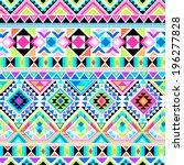 neon aztec geometric print  ... | Shutterstock .eps vector #196277828