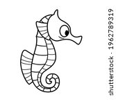 cute cartoon sea horse outlined ... | Shutterstock .eps vector #1962789319
