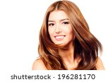 beautiful smiling girl with... | Shutterstock . vector #196281170