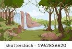 waterfall jungle landscape... | Shutterstock .eps vector #1962836620