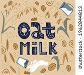 oatmeal milk. milk for...   Shutterstock .eps vector #1962844813