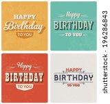 happy birthday card   retro...   Shutterstock .eps vector #196286843