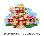 sweet castle in the candy land. ... | Shutterstock .eps vector #1962870799