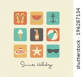 summer holiday icon collection | Shutterstock .eps vector #196287134