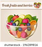 salad with fresh fruits and... | Shutterstock .eps vector #196289816