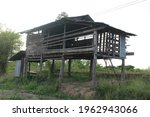 old wooden house. Abanoned old house