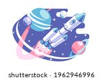 space and galaxy exploring... | Shutterstock .eps vector #1962946996