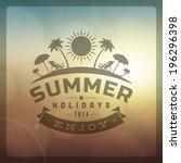summer holidays vector... | Shutterstock .eps vector #196296398