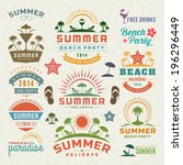 summer design elements and... | Shutterstock .eps vector #196296449