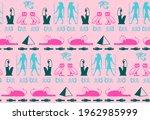 ancient egyptian hieroglyphics... | Shutterstock .eps vector #1962985999