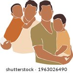 gay family couple with kids on...   Shutterstock .eps vector #1963026490