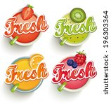 fruits and berries  juices with ... | Shutterstock .eps vector #196303364