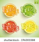 set fresh grapefruit  lemon ... | Shutterstock .eps vector #196303388