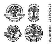 bundles of tree root logo badge ...   Shutterstock .eps vector #1963043623