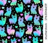cute holographic corgi dogs... | Shutterstock .eps vector #1963046659