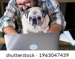 Portrait Of Mature Man And Dog...