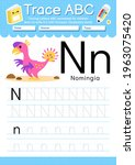 alphabet tracing worksheet with ... | Shutterstock .eps vector #1963075420
