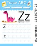 alphabet tracing worksheet with ... | Shutterstock .eps vector #1963075423