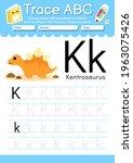 alphabet tracing worksheet with ... | Shutterstock .eps vector #1963075426