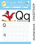 alphabet tracing worksheet with ... | Shutterstock .eps vector #1963075429