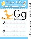 alphabet tracing worksheet with ... | Shutterstock .eps vector #1963075453