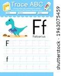alphabet tracing worksheet with ... | Shutterstock .eps vector #1963075459