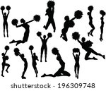 art,athlete,back,black,bullhorn,cheering,cheerleader,fitness,funky,girls,group,gym,gymnasium,illustration,isolated