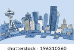 buildings,business,cartoon,day,district,downtown,exterior,illustration,pier,seattle,skyline,skyscraper,vector,washington,waterfront