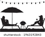 women relaxing on deck chair    Shutterstock .eps vector #1963192843
